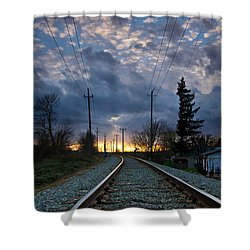 Fire On The Horizon Shower Curtain by Eti Reid