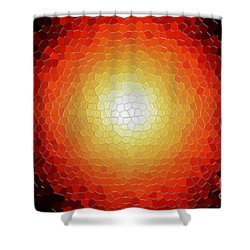 Fireball Sunburst A Tiffany Look Stain Glass Shower Curtain by Andee Design