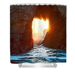 Fireburst - Arch Rock In Pfeiffer Beach In Big Sur. Shower Curtain by Jamie Pham