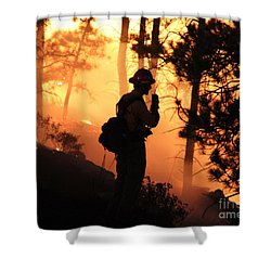 Shower Curtain featuring the photograph Firefighter At Night On The White Draw Fire by Bill Gabbert