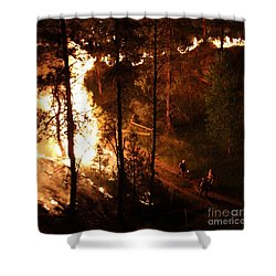 Shower Curtain featuring the photograph Firefighters Burn Out On The White Draw Fire by Bill Gabbert