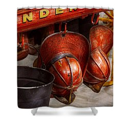 Fireman - Hats - I Volunteered For This  Shower Curtain by Mike Savad