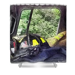 Firemen - Helmet Inside Cab Of Fire Truck Shower Curtain by Susan Savad