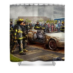 Firemen - The Fire Demonstration Shower Curtain by Mike Savad