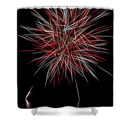 Fireworks Rockets Red Glare Shower Curtain by Christina Rollo