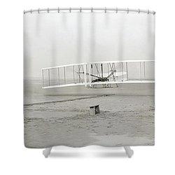 First Flight Captured On Glass Negative - 1903 Shower Curtain by Daniel Hagerman