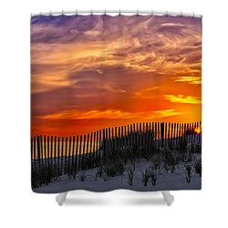 First Light At Cape Cod Beach  Shower Curtain by Susan Candelario
