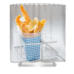 Fish And Chips Shower Curtain by Amanda Elwell