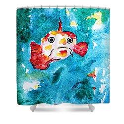 Fish Traveler - Abstract Shower Curtain by Carlin Blahnik