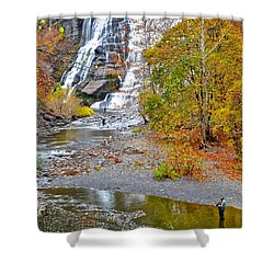Fisherman One With Nature Shower Curtain by Frozen in Time Fine Art Photography