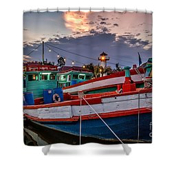 Fishing Boat Shower Curtain by Adrian Evans