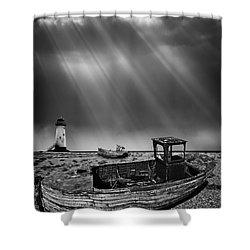 Fishing Boat Graveyard 11 Shower Curtain by Meirion Matthias