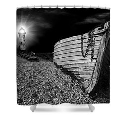 Fishing Boat Graveyard 5 Shower Curtain by Meirion Matthias