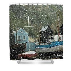 Fishing Boats Covered With Snow In Old Shower Curtain by Chris Parker