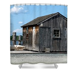 Fishing Shack On The Mystic River Shower Curtain by RC DeWinter