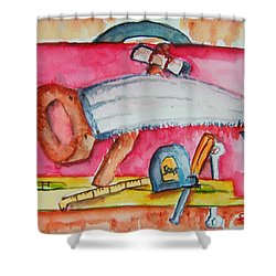 Fix And Finish It Shower Curtain by Elaine Duras