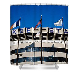 Flags In Front Of A Stadium, Yankee Shower Curtain by Panoramic Images