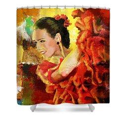 Flamenco Dancer 027 Shower Curtain by Catf