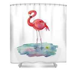 Flamingo Pose Shower Curtain by Amy Kirkpatrick