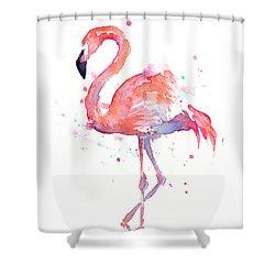 Flamingo Watercolor Shower Curtain by Olga Shvartsur