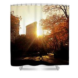 Flatiron Building Sunset - Madison Square Park Shower Curtain by Vivienne Gucwa