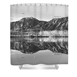 Flatirons Morning Reflections Panorama Boulder Colorado In Bw Shower Curtain by James BO  Insogna
