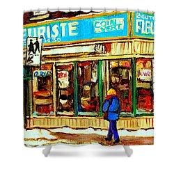 Fleuriste Notre Dame Flower Shop Paintings Carole Spandau Winter Scenes Shower Curtain by Carole Spandau