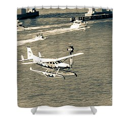 Flight- Landing In The Bay Shower Curtain by Rene Triay Photography