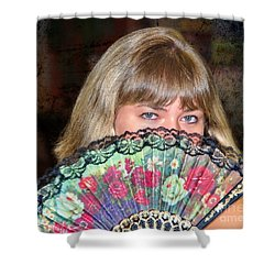 Flirting With The Fan Shower Curtain by Mariola Bitner