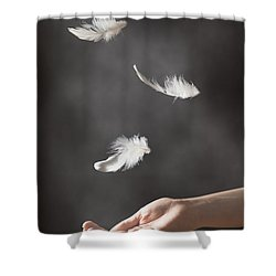 Floating Feathers Shower Curtain by Amanda Elwell