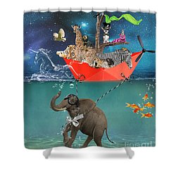 Floating Zoo Shower Curtain by Juli Scalzi