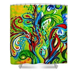 Floral Tree Fauna Shower Curtain by Genevieve Esson