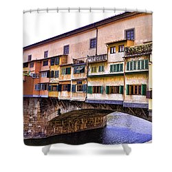 Florence Italy Ponte Vecchio Shower Curtain by Jon Berghoff