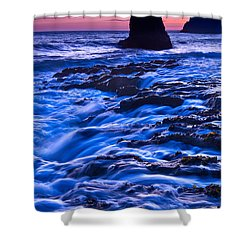 Flow - Dramatic Sunset View Of A Sea Stack In Davenport Beach Santa Cruz. Shower Curtain by Jamie Pham