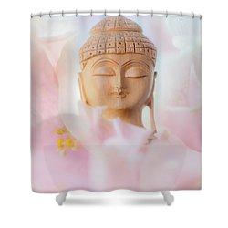 Flower Buddha 3 Shower Curtain by Jenny Rainbow
