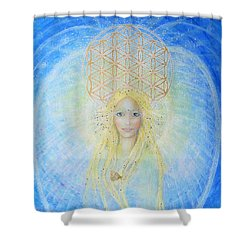 Flower Of Life Angel Shower Curtain by Lila Violet