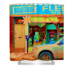 Flower Shop St Henri Boutique Fleuriste Window Notre Dame Ouest Montreal City Scene Carole Spandau Shower Curtain by Carole Spandau