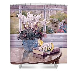 Flowers And Book On Table Shower Curtain by Julia Rowntree