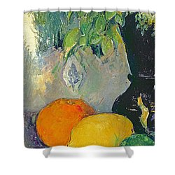 Flowers And Fruits Shower Curtain by Paul Cezanne
