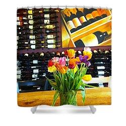 Flowers And Wine Shower Curtain by Susan Garren
