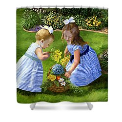 Flowers For Mama With Girls Garden Basket Bouquet Shower Curtain by Alice Leggett