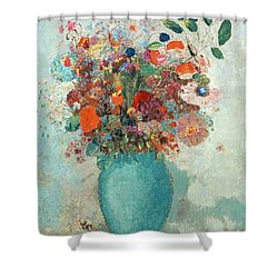 Flowers In A Turquoise Vase Shower Curtain by Odilon Redon