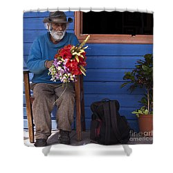 Flowers To Make A Living Shower Curtain by Heiko Koehrer-Wagner