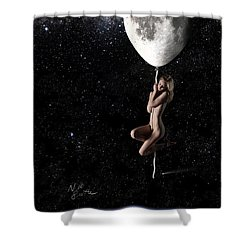 Fly Me To The Moon - Narrow Shower Curtain by Nikki Marie Smith