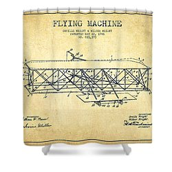 Flying Machine Patent Drawing From 1906 - Vintage Shower Curtain by Aged Pixel