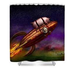 Flying Pig - Rocket - To The Moon Or Bust Shower Curtain by Mike Savad
