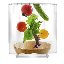 Flying Salad Shower Curtain by Elena Elisseeva