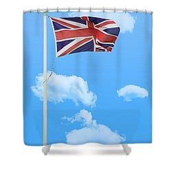 Flying Union Jack Shower Curtain by Amanda And Christopher Elwell