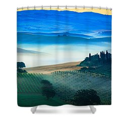 Fog In Tuscan Valley Shower Curtain by Inge Johnsson