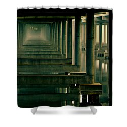 Foggy Morning Under Bridge Shower Curtain by Robert Frederick